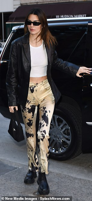 Galentine's: Kendall Jenner wore some cow hide satin pants and a white crop top