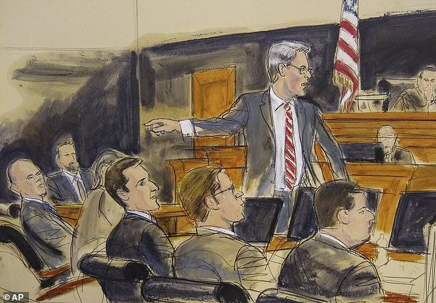Assistant U.S. Attorney Robert Sobelman is pictured in a court sketch pointing at Avenatti during his trial in New York