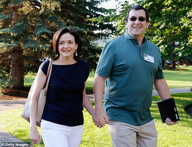 Finding love: The businesswoman was introduced to Bernthal by her late husband Dave Goldberg's brother Rob. She is pictured with Goldberg in 2013, two years before his death