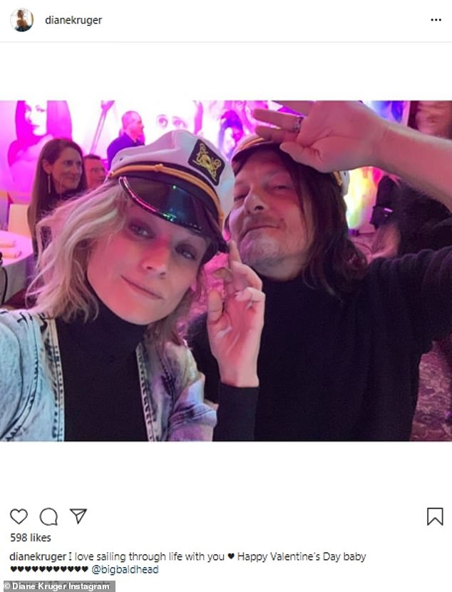 The very private couple getting less private: Diane Kruger of Troy fame with her partnerNorman Reedus with whom she has a child