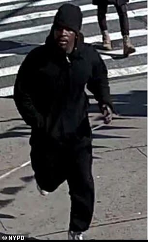 The suspect in the attack, pictured above, was picked up on local surveillance footage and is described as a black male in his 20s wearing all black and white Air Jordans
