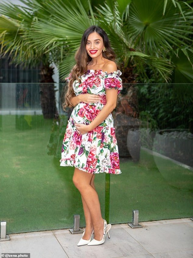 'I'm pregnant and this is my journey': Former My Kitchen Rules star Zana Pali shared some touching pregnancy progress photos, which were taken in her glamorous back garden