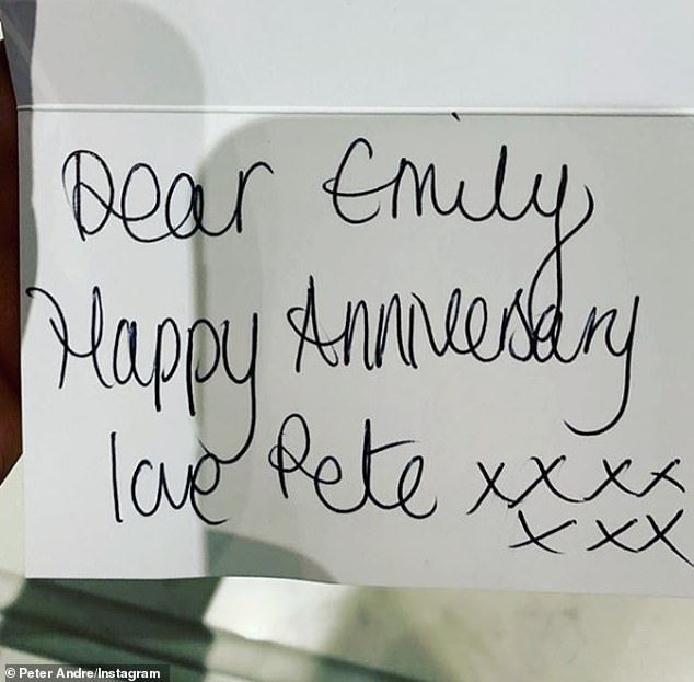 Oh dear: The singer, 46, took to Instagram to reveal he had accidentally wished his doctor partner, 30, 'happy anniversary' and joked that he hadn't seen her since