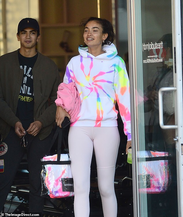 Gorgeous!Kelly Gale (pictured) appeared in high spirits as she stepped out of the gym on Friday, after working up a sweat to tone her figure at a Pilates class in Venice, California.