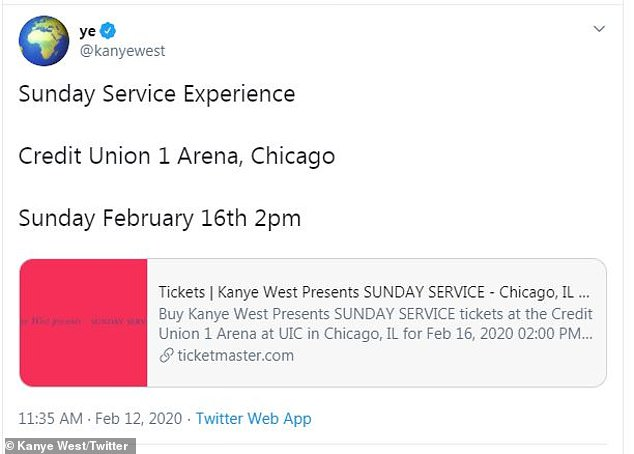 Hometown: The 21-time Grammy winner is scheduled to bring his 13-month-old gospel experience Sunday Service to the Credit Union 1 Arena in Chicago this Sunday at 2PM
