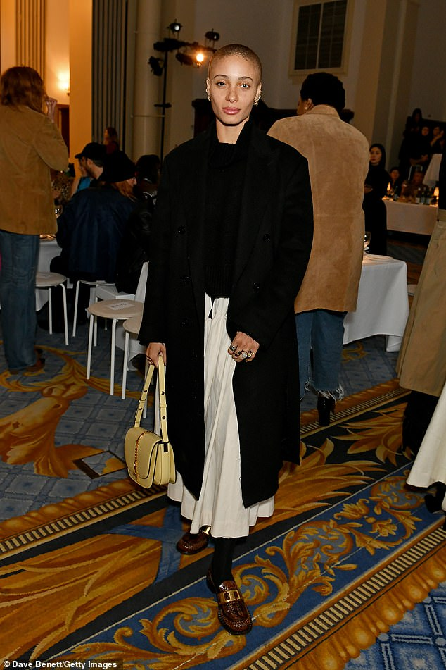 Fashionista: Jourdan was joined at the event by an array of other fashion industry mainstays, including model Adwoa Aboah (pictured) who looked chic in a black jumper and a white skirt