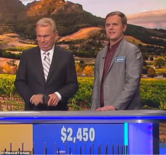 Studio audience members applauded when contestant Adam Goodell guessed the expression, prompting tickled host Pat Sajak to explain: 'Uh… it's a grilling expression'
