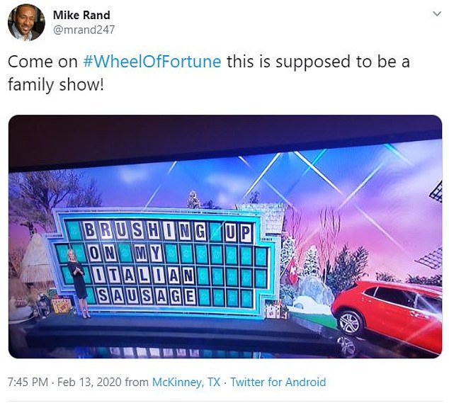 Viewers noted the phrase could be interpreted n a variety of ways and reminded each other Wheel of Fortune is supposed to be a family-friendly show