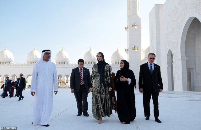 Ivanka looked to be extremely engaged as she toured the Sheikh Zayed Grand Mosque with religious officials and a team of security