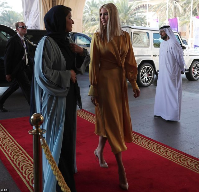 The daughter of President Donald Trump was welcomed by Lamia Abdulaziz Khan at the two-day Global Women's Forum held in an opulent resort overlooking the city's Persian Gulf coastline on Sunday
