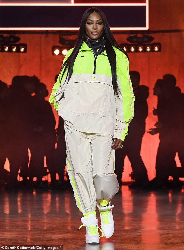 Oh My Naomi: The icon of fashion Naomi Campbell strutted her stuff on the runway for Hilfiger in the designer's latest collection