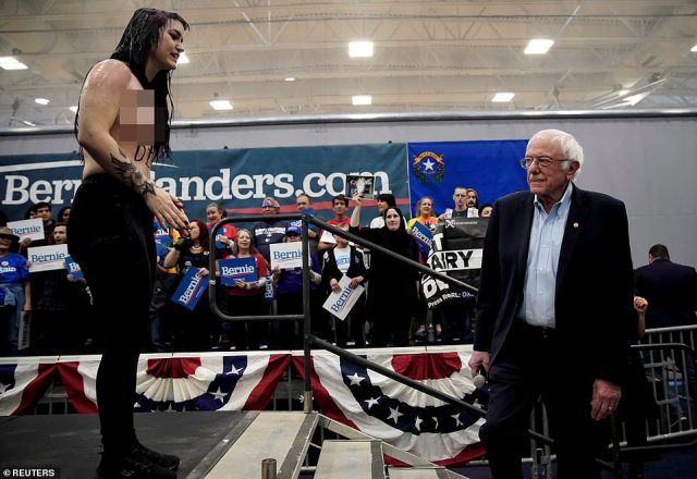 A protester interrupts Democratic 2020 U.S. presidential candidate Senator Bernie Sanders during a campaign event in Carson City, Nevada on Saturday