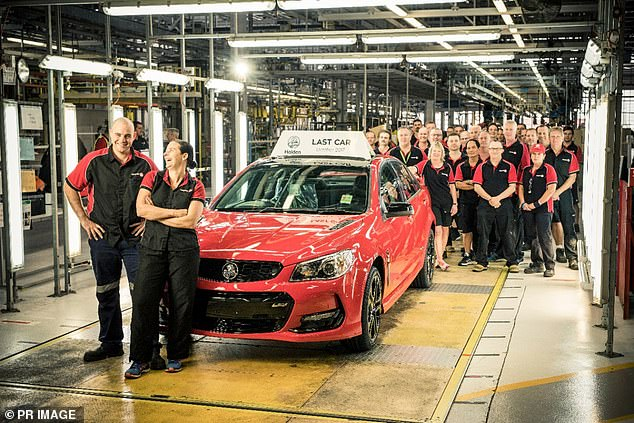 The Holden car brand will be no more, with General Motors opting to dump the name synonymous with Australian motoring by 2021. Pictured is the last Holden Commodore at the Elizabeth plant in Adelaide, October 2017