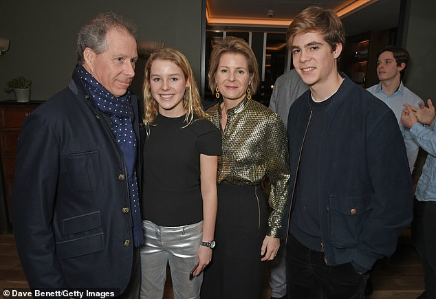 Pictured left to right, David Armstrong-Jones, Earl of Snowdon, Lady Margarita Armstrong-Jones, Serena Armstrong-Jones, Countess of Snowdon, and Charles Armstrong-Jones, Viscount Linley, attend the Alexander Dundas's 18th birthday party hosted by Lord and Lady Dundas on December 16, 2017 in London