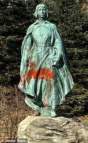 Vandals also spray-painted graffiti on The Pilgrim Maiden, a bronze statue erected in 1922 in honor of the women of Plymouth's founding families