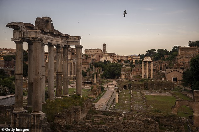 Tomb discovered under the Roman Forum (pictured) could be the resting place of the city's legendary founder Romulus