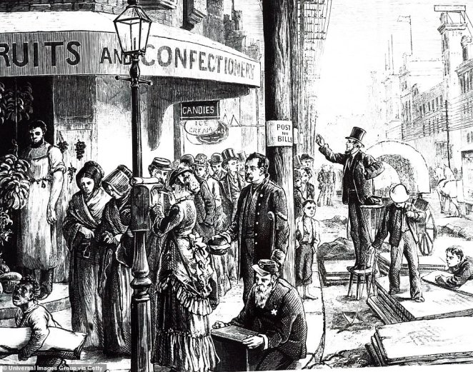 The above image shows an engraving depicting a street scene in Philadelphia during the 19th century