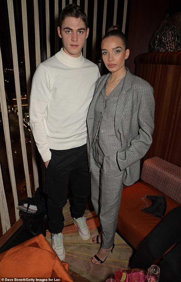 Casual: During the party, Hana also posed for a snap with Harry Potter star Hero Fiennes-Tiffin, as she enjoyed LOVE's annual Fashion Week celebration