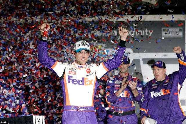 Denny Hamlin, who sped to victory unaware of what had happened on the track behind him, was criticized for celebrating so quickly when Newman's condition was unknown