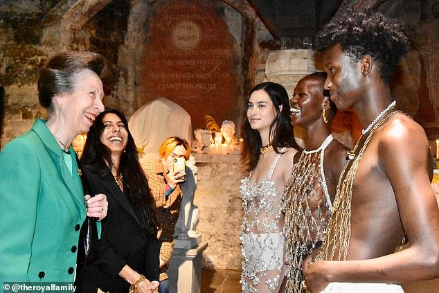 Princess Anne struggled to keep a straight face as she met topless models at a fashion show yesterday. The models, pictured, were showcasing pieces byRosh Mahtani, also pictured
