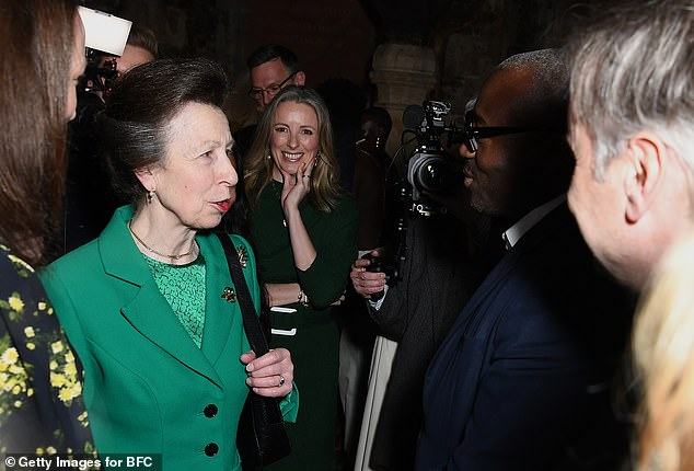 Princess Anne appeared in good spirits as she spoke to Edward Enninful at last night's event