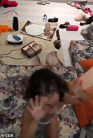 The mother was shown hitting the little girl...