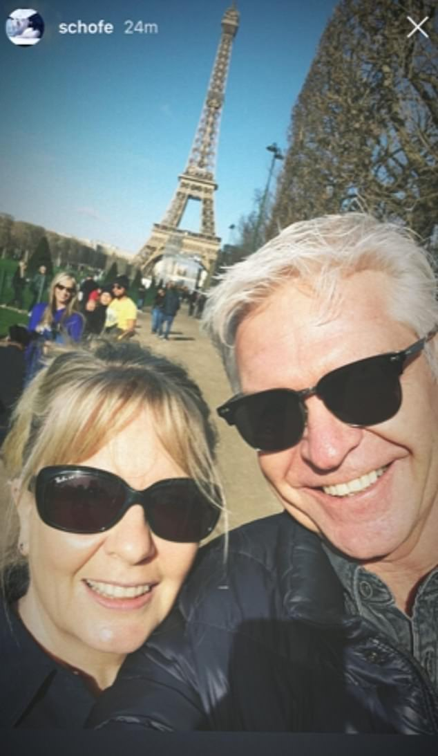 Sweet:Phillip jetted on a family holiday to Paris during half term, just weeks after coming out as gay following 27 years of marriage