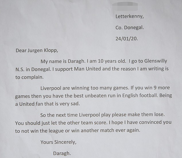 This isn't the first time Klopp has written to a young football fan - Daragh Curley, a Manchester United fan, 10, sent a letter to the Reds boss asking them never to win again last season.