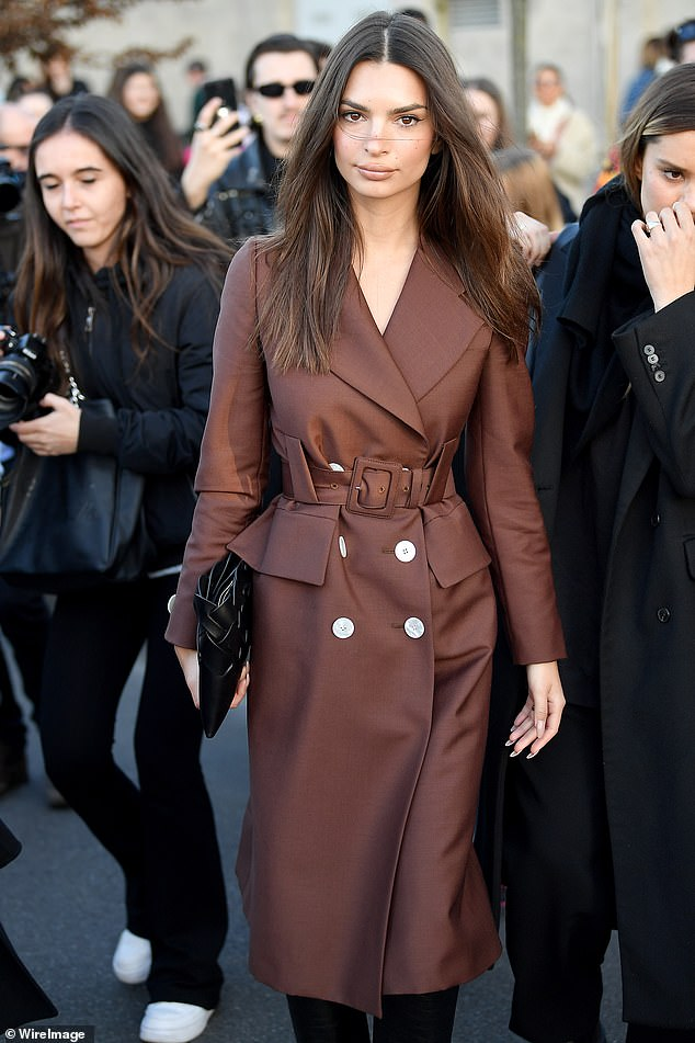Prada show: Emily Ratajkowski looked classically chic as she stepped out during Milan Fashion Week on Thursday