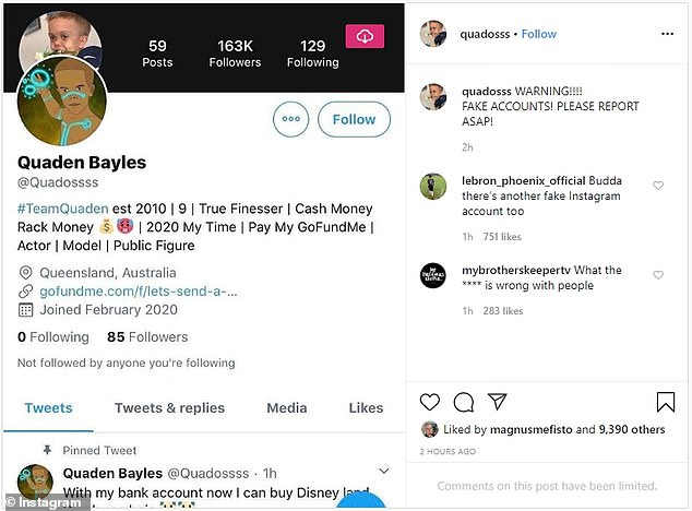 Quaden Bayles Fight on social media.  On Saturday, Quaden's Instagram account 'Quadosss' warned his 226,000 followers that fake social media accounts (left) claiming to be him and trying to take advantage of his situation were being created