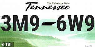 The sought vehicle had a Tennessee license plate No. 3M9-6W9