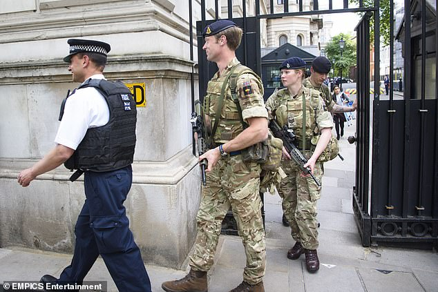 A new 'Protect Duty' will be consulted on by the Government in the next few weeks following discussion with victims' groups. Members of the Army are pictured above outside Downing Street following the Westminster terror attack in 2017