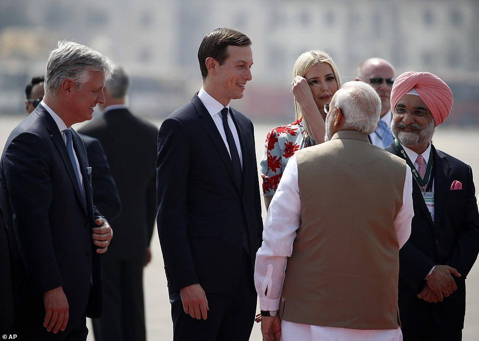 Jared Kushner and Ivanka Trump are also on the trip; they spoke with Prime Minister Modi at the airport