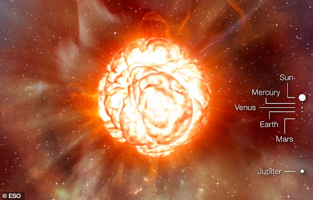 This artists impression shows the supergiant star Betelgeuse as it would be if it were in the solar system - its outer edge would go as far out as Jupiter, swallowing the inner planets