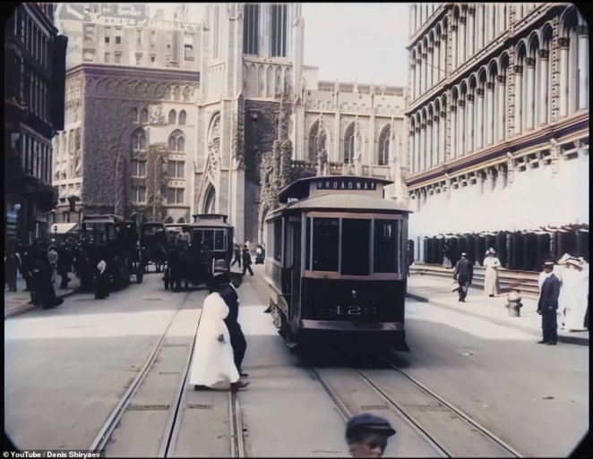 The video was 'produced only three years before the outbreak of World War I, the everyday life of the city recorded here - street traffic, people going about their business - has a casual, almost pastoral quality,' the museum wrote. The streets are roaming with trolleys, wagons, horse and buggies and a few cars are seen on the roads