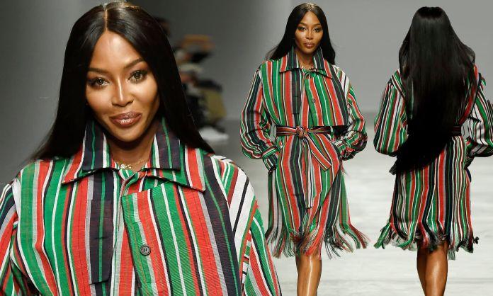 Image result for Naomi Campbell models at Nigerian designer's debut