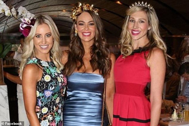 Dr Tim Steel's wife Emma also claims she was the victim of ongoing financial abuse. She is pictured centre alongside Roxy Jacenko (left) and another friend (right) at a social event