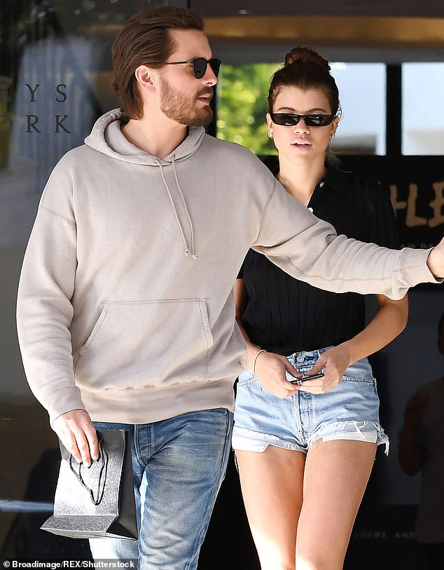 Back and forth: 'Scott and Sofia are the type of couple that constantly split up and get back together,' a source said. 'It's all very dramatic, and then all good again'; pictured in 2018