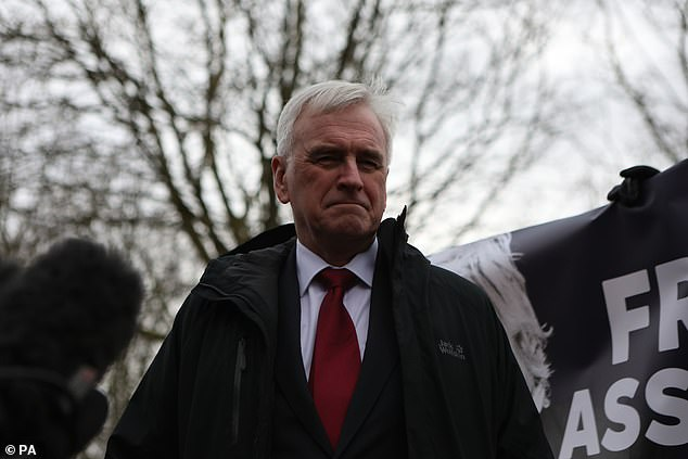 John McDonnell, pictured in London on February 20, has urged Labour members not to ditch the policies advocated by Mr Corbyn