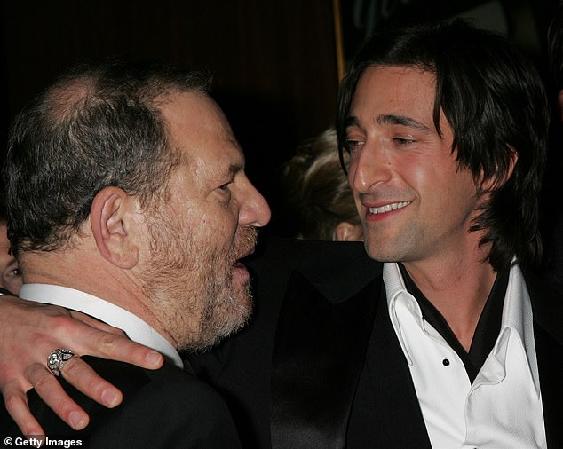 Brody and Chapman, who initially met through Weinstein, were introduced 'properly' at a swimwear launch in Puerto Rico, a source said, where they 'bonded over cocktails' (Pictured: Weinstein and Brody in 2006)