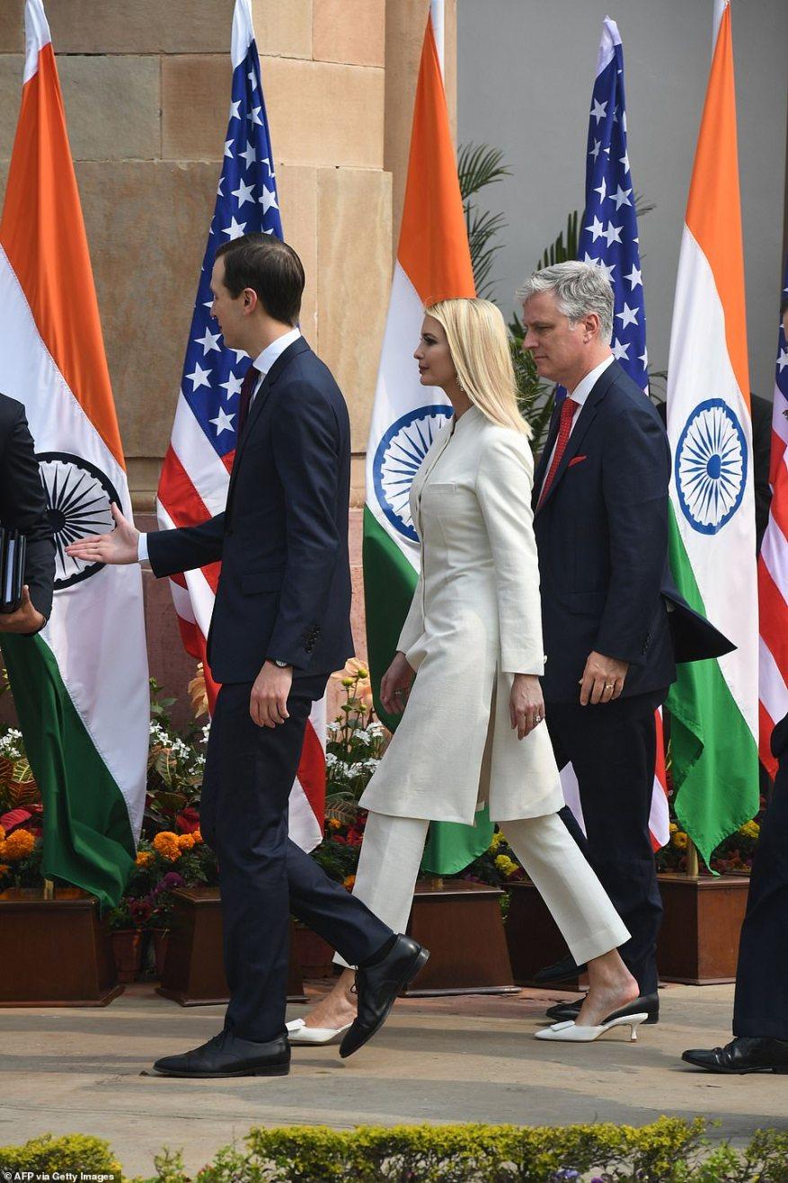 White House senior advisors Ivanka Trump and Jared Kushner arrive at Hyderabad House - the prime minister's residence