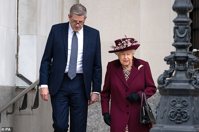 The Queen, 93, delivered a speech, saying how she is 'always struck' by the 'remarkable resolve' of MI5 employees. Pictured, with Director General Andrew Parker after the visit