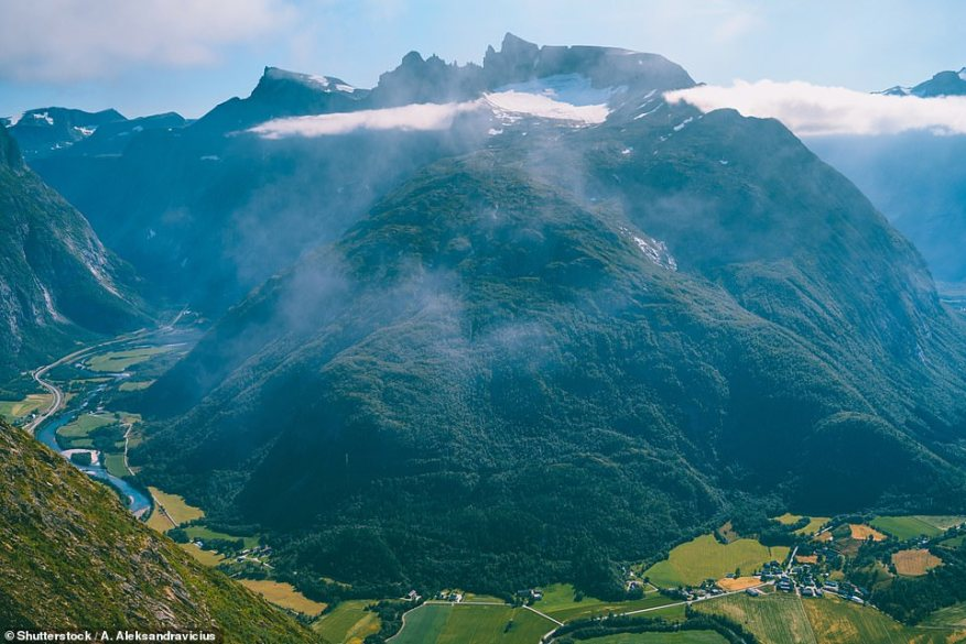 A breathtaking view of the valley from the Romsdalseggen ridge. Hiking along the ridge can take up to 10 hours