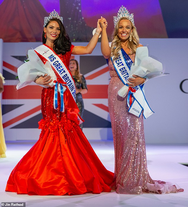 April says her passion is to make woman feel empowered and beautiful in her designs. She is pictured here on stage with the newly crowned Miss Great Britain