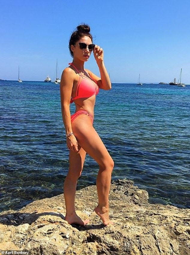 No stranger from the spotlight, April finished first runner-up in the Miss Great Britain final in both 2014 and 2016.She's also dipped her toes into reality TV, and in 2011 came third in Channel 5's The Bachelor, where she competed for the love of Welsh rugby hunk Gavin Henson. She is pictured here in Ibiza