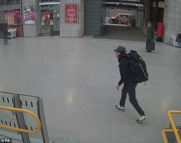 Abedi at Victoria Station making his way to the Manchester Arena, on May 22, 2017, where he detonated his bomb, which was shown at the Old Bailey today