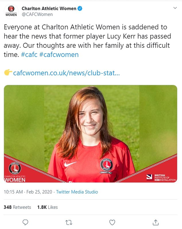 Charlton Athletic Women said Ms Kerr had died and passed on their condolences to her family