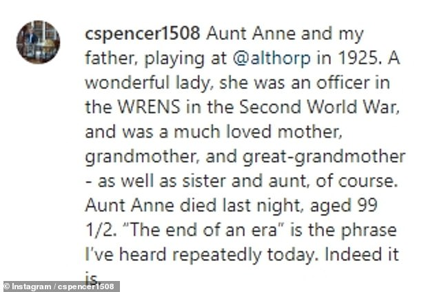 The Earl wrote a touching tribute to his aunt, calling her a 'wonderful lady' and highlighting her work as an officer for the Women's Royal Navy Service during WW II