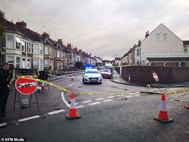 Officers were sent to the Wells Road area of South Bristol at 3:10pm on Tuesday (pictured) after the force received multiple calls about a man on roller skates attacking people
