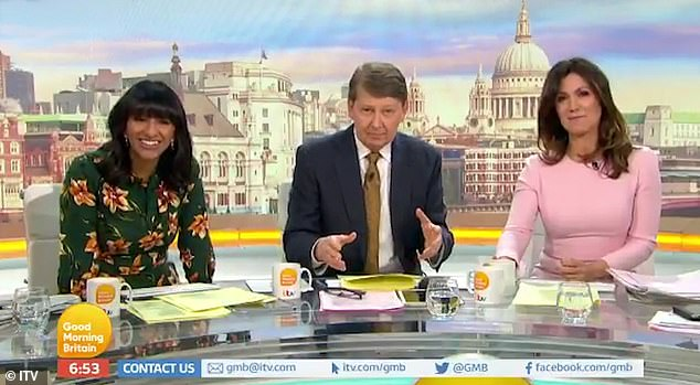 Bill Turnbull, 64, is standing in for regular host Piers Morgan this week while he takes a break. He is pictured centre with co-hot Susanna Reid right and Ranvir Singh left